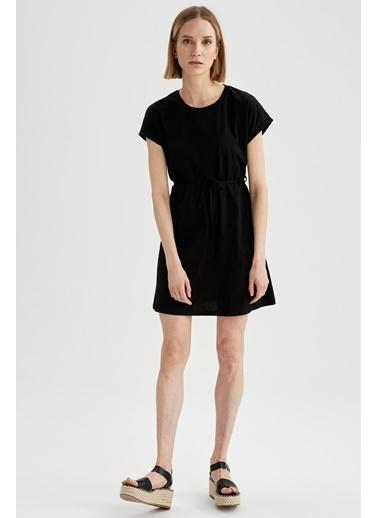 DeFacto Basic Beli Bağcıklı Elbise Siyah